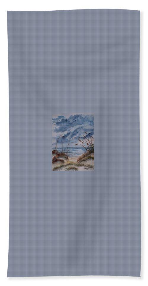 Watercolor Landscape Painting Seascape Beach Bath Towel featuring the painting DUNES seascape fine art poster print seascape by Derek Mccrea