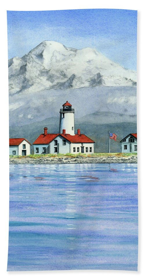 Sequim Hand Towel featuring the painting Dungeness Lighthouse With Mount Baker by Julie Senf