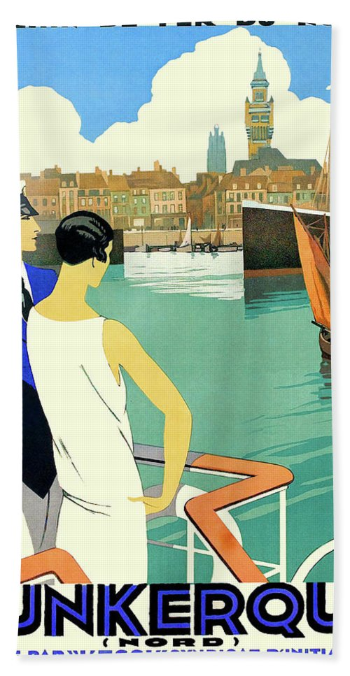 Dunkirk Hand Towel featuring the painting Dunkirk City, View From The Tourist Boat by Long Shot