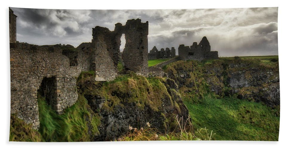History Bath Sheet featuring the photograph Dunluce Castle by Windy Corduroy