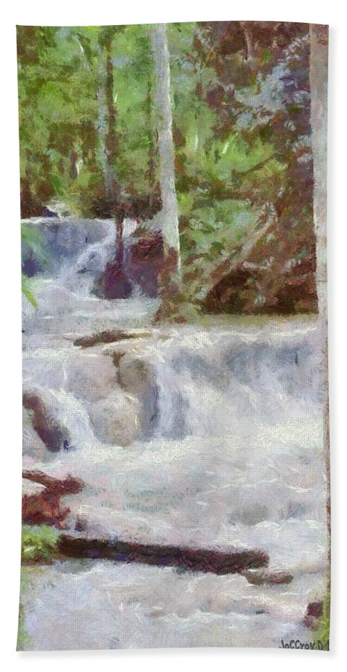 Dunn River Hand Towel featuring the painting Dunn River Falls by Jeffrey Kolker