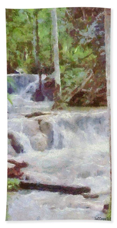 Dunn River Bath Towel featuring the painting Dunn River Falls by Jeffrey Kolker