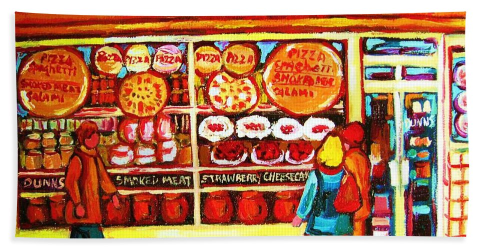 Montreal Bath Sheet featuring the painting Dunn's Treats And Sweets by Carole Spandau