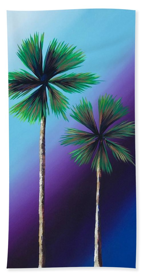 Palm Tree Bath Sheet featuring the painting Duo by Drica Lobo