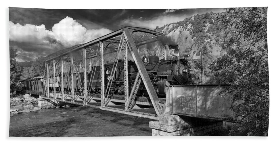 Southwest Hand Towel featuring the photograph Durango Silverton Railroad Colorado On The Bridge Dsc03927 by Greg Kluempers