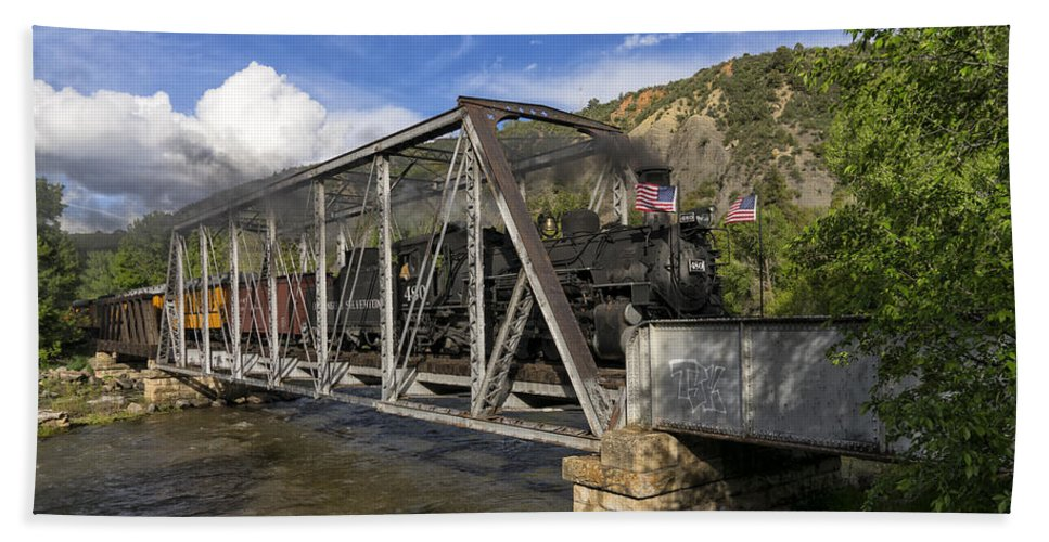 Southwest Hand Towel featuring the photograph Durango Silverton Railroad Colroado On The Bridge Color Dsc03927 by Greg Kluempers