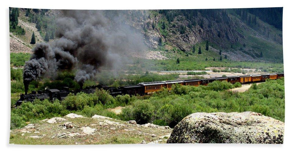 Railroad Bath Sheet featuring the photograph Durango Silverton Railway Full Steam Ahead by Carol Milisen