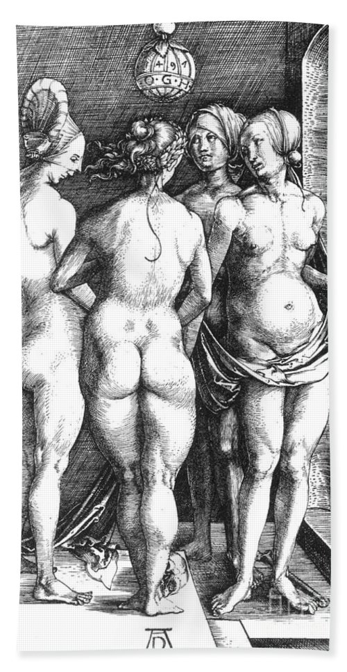 1497 Hand Towel featuring the photograph Durer Four Witches, 1497. For Licensing Requests Visit Granger.com by Granger