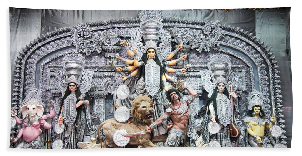 Durga Hand Towel featuring the photograph Durga Idol At Puja Pandal Durga Puja Festival by Rudra Narayan Mitra