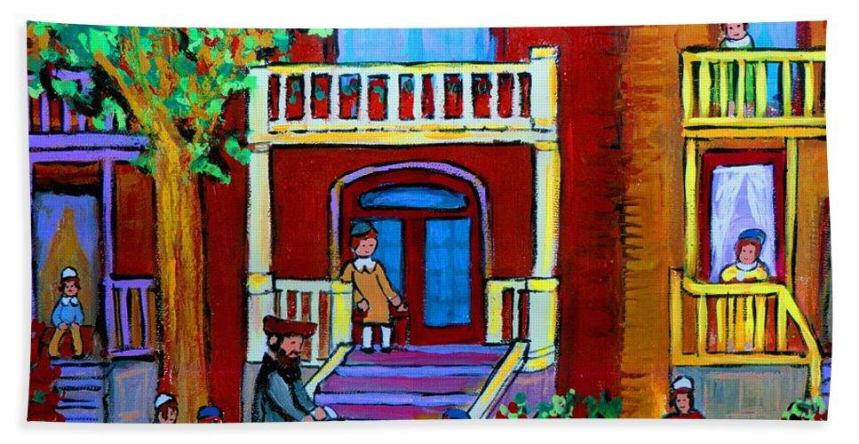 Judaica Bath Towel featuring the painting Durocher Street Montreal by Carole Spandau
