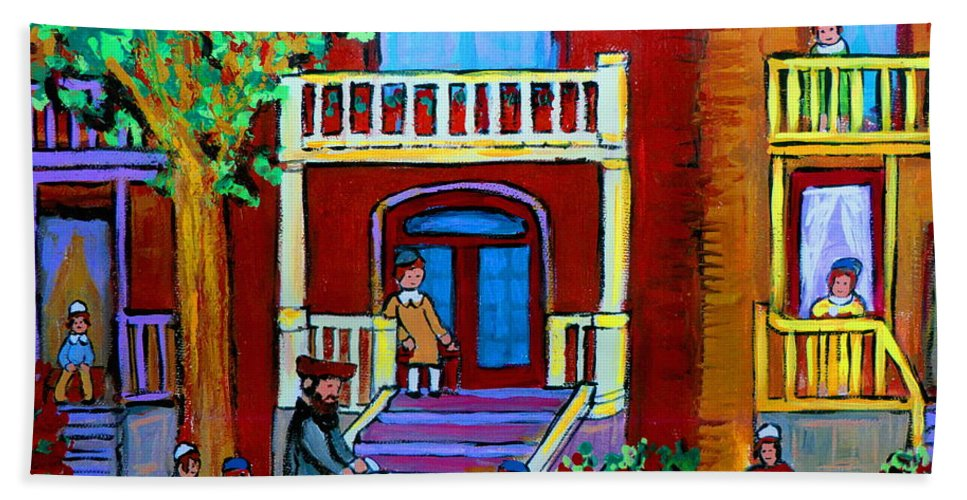 Judaica Bath Sheet featuring the painting Durocher Street Montreal by Carole Spandau