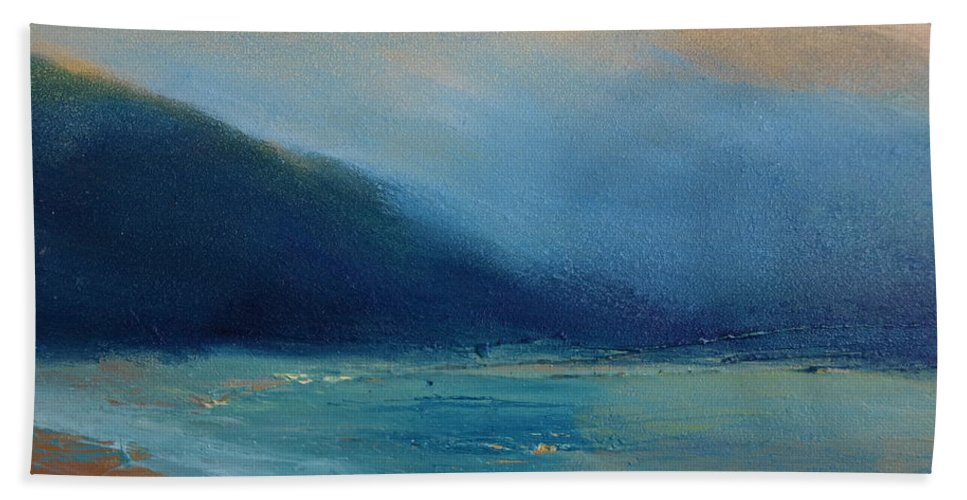 Landscape Bath Sheet featuring the painting Dusk 09 by Pusita Gibbs