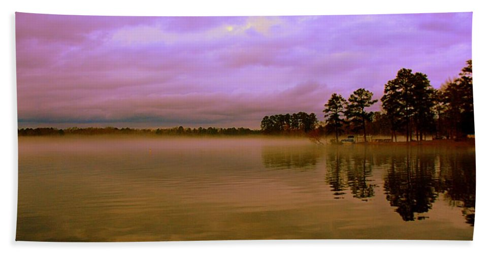 Dusk At Lake Murray Sc Hand Towel featuring the photograph Dusk At Lake Murray Sc by Lisa Wooten