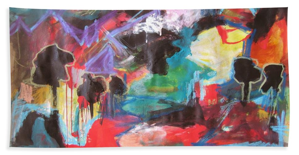 Original Hand Towel featuring the painting dusk in Bay Roberts by Seon-Jeong Kim