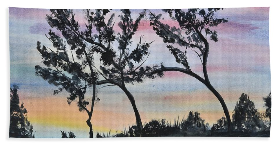 Linda Brody Hand Towel featuring the painting Dusk Landscape by Linda Brody