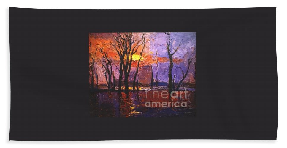 Dusk Hand Towel featuring the painting Dusk by Meihua Lu