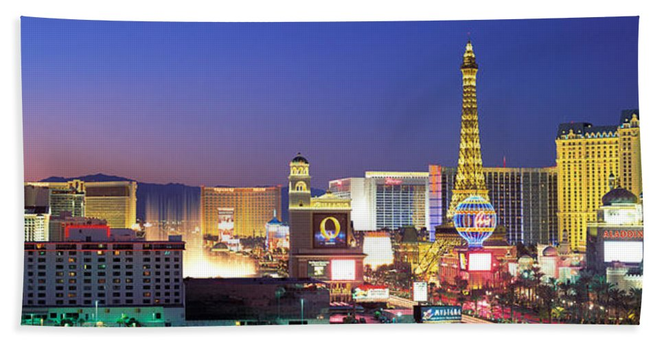 Photography Bath Sheet featuring the photograph Dusk, The Strip, Las Vegas, Nevada, Usa by Panoramic Images