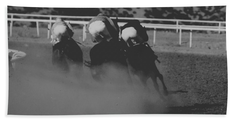 Horse Bath Towel featuring the photograph Dust And Butts by Kathy McClure