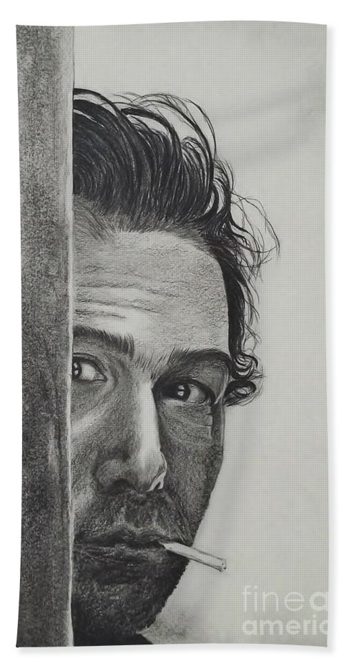 Portrait Hand Towel featuring the drawing Dustin Hoffman by Lise PICHE