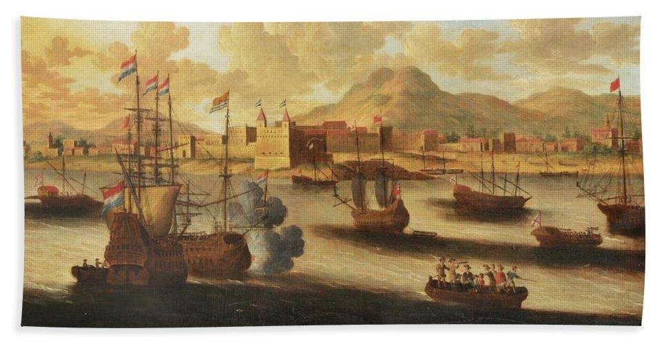 Pieter Van Den Velde (antwerp 1634 - After 1687 Antwerp) Dutch And English Warships Bath Sheet featuring the painting Dutch And English Warships by Pieter