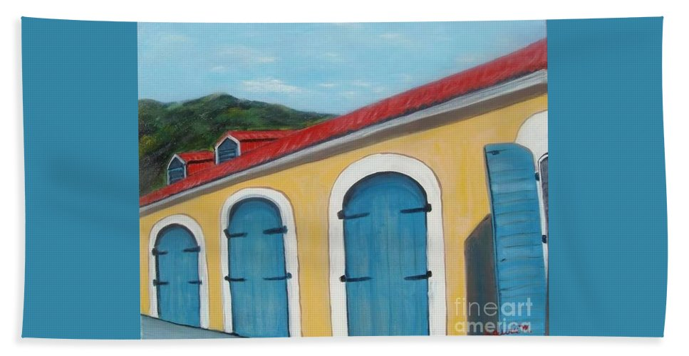 Doors Bath Towel featuring the painting Dutch Doors Of St. Thomas by Laurie Morgan