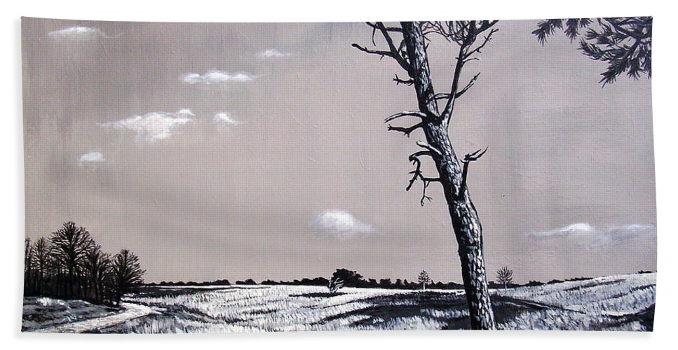 Duotone Hand Towel featuring the painting Dutch Heathland by Arie Van der Wijst