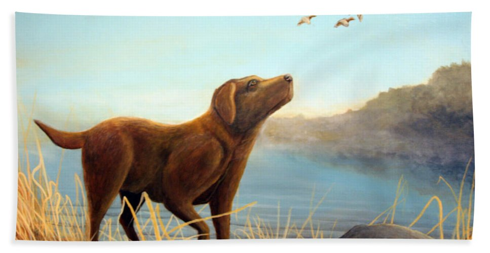 Chocolate Lab Painting Hand Towel featuring the Dutch by Rick Huotari