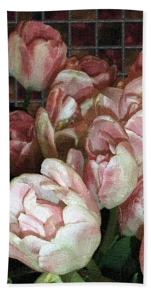 Classical Bath Sheet featuring the painting Dutch Tulips Dutch Tile by RC DeWinter