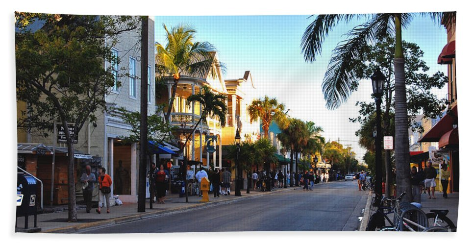 Key West Hand Towel featuring the photograph Duval Street In Key West by Susanne Van Hulst