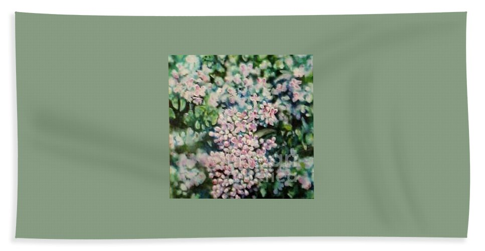 Lilacs Bath Towel featuring the painting Dwarf Korean Lilac by Karen Sloan