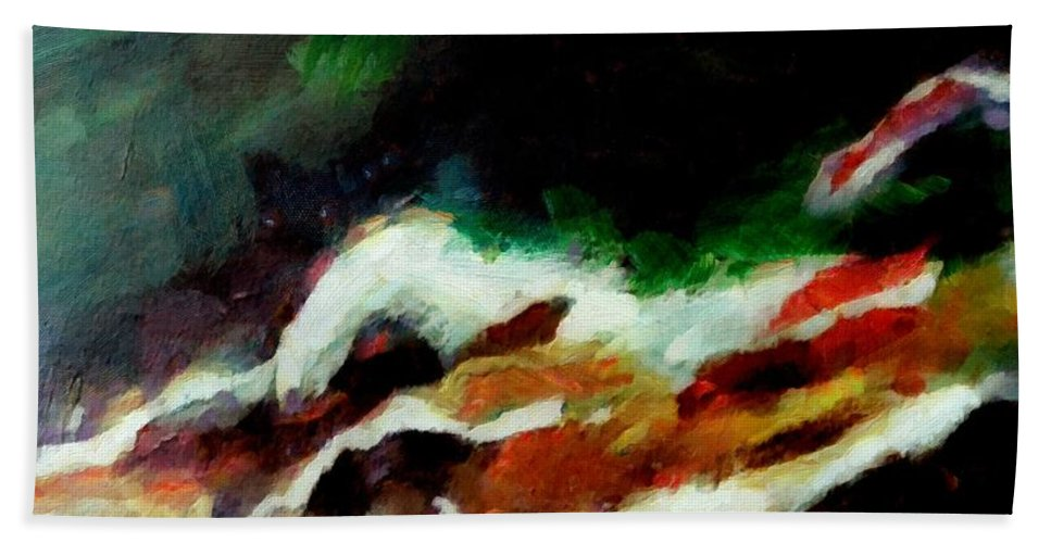 Abstract Hand Towel featuring the painting Dying Swan-abstract by Dragica Micki Fortuna