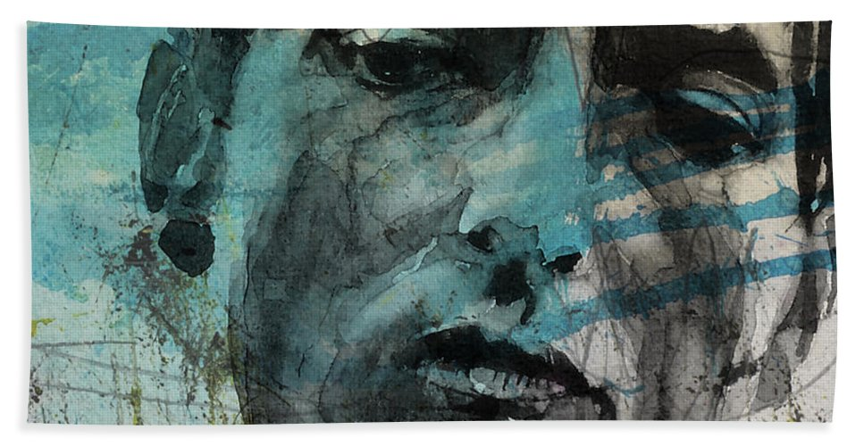 Bob Dylan Hand Towel featuring the mixed media Dylan - Retro Maggies Farm No More by Paul Lovering