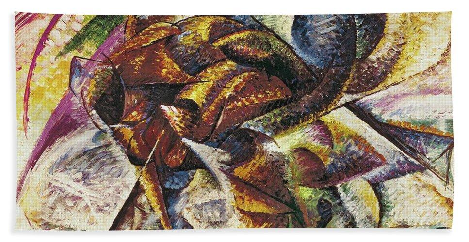 Dynamism Of A Cyclist (dinamismo Di Un Ciclista) 1913 (oil On Canvas) By Umberto Boccioni (1882-1916) Hand Towel featuring the painting Dynamism Of A Cyclist by Umberto Boccioni