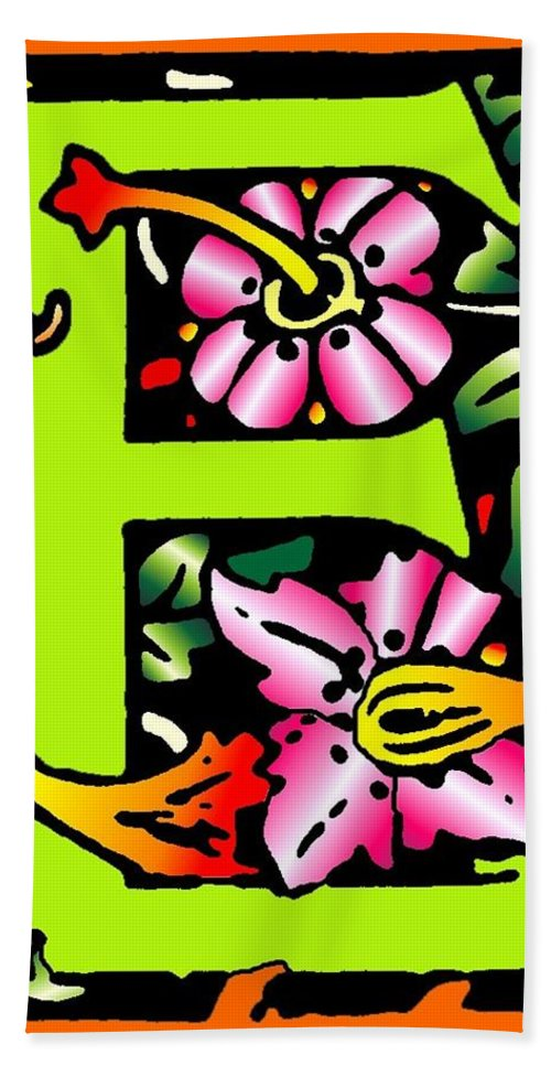 Alphabet Bath Towel featuring the digital art E In Green by Kathleen Sepulveda