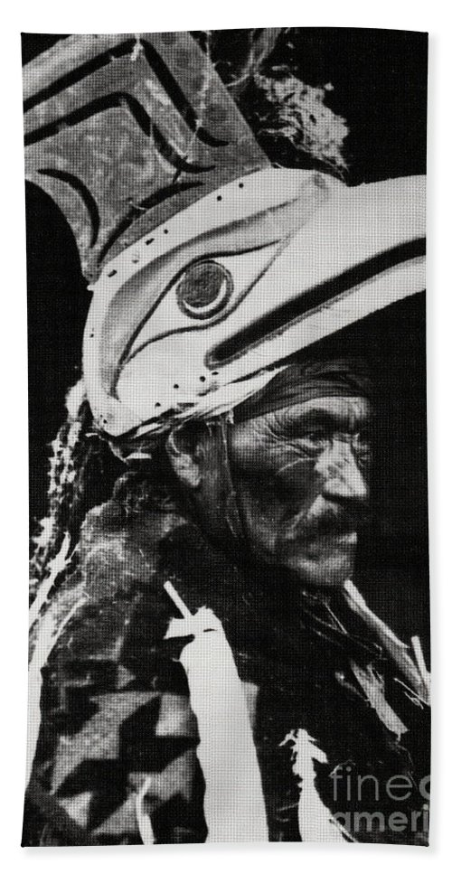 Wickaninnish Bath Towel featuring the photograph Wickaninnish And Thunderbird Mask Nuu Chah Nulth Vancouver Island 1923 by Peter Ogden Gallery