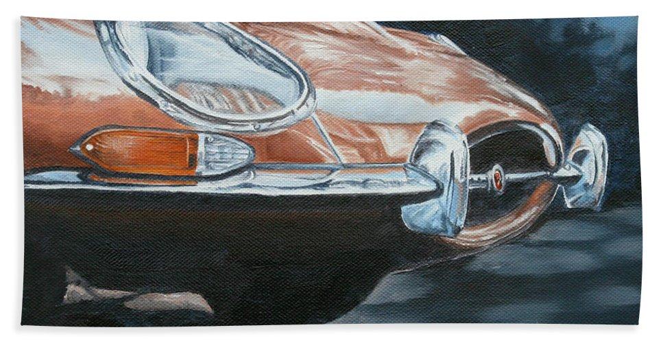 Classic Bath Sheet featuring the painting E-type Jaguar by Pauline Sharp