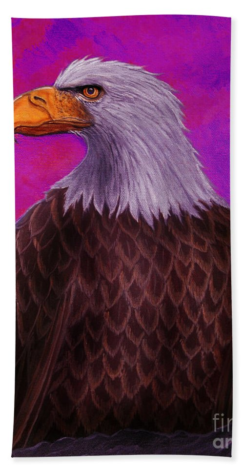 Eagle Bath Sheet featuring the painting Eagle Crimson Skies by Nick Gustafson