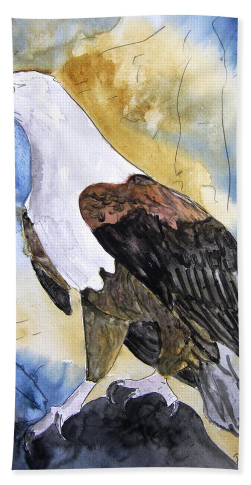 Realistic Hand Towel featuring the painting Eagle by Derek Mccrea