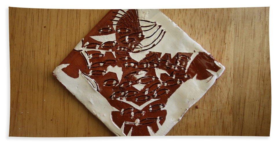 Jesus Bath Sheet featuring the ceramic art Eagle Eye - Tile by Gloria Ssali