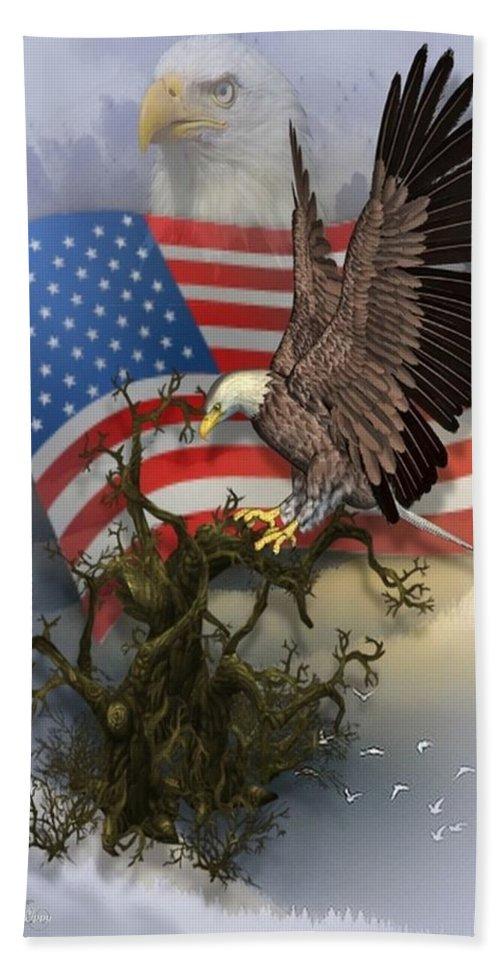 Bald Eagle Bath Sheet featuring the digital art Eagle Lands by Ali Oppy