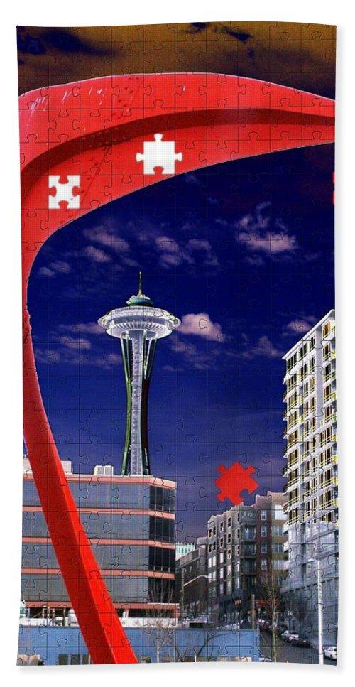 Seattle Bath Towel featuring the digital art Eagle Needle by Tim Allen