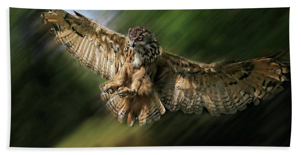 Prey Bath Sheet featuring the photograph Eagle Owl Landing by Ceri Jones