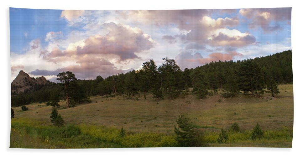 Eagle Roick Hand Towel featuring the photograph Eagle Rock Estes Park Colorado by Heather Coen