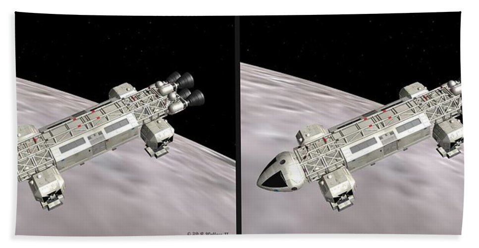 3d Bath Sheet featuring the photograph Eagle Shuttle - Gently Cross Your Eyes And Focus On The Middle Image by Brian Wallace