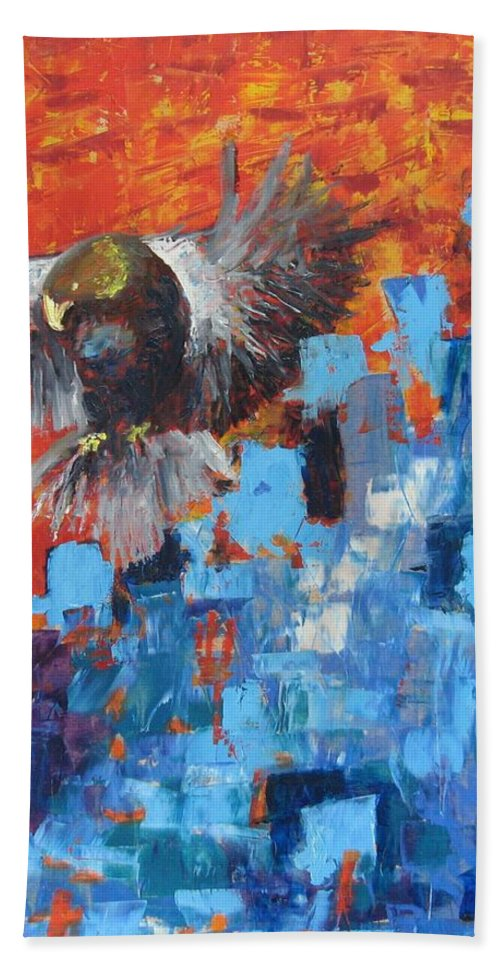 Nature Hand Towel featuring the painting Eagle by Stella Velka