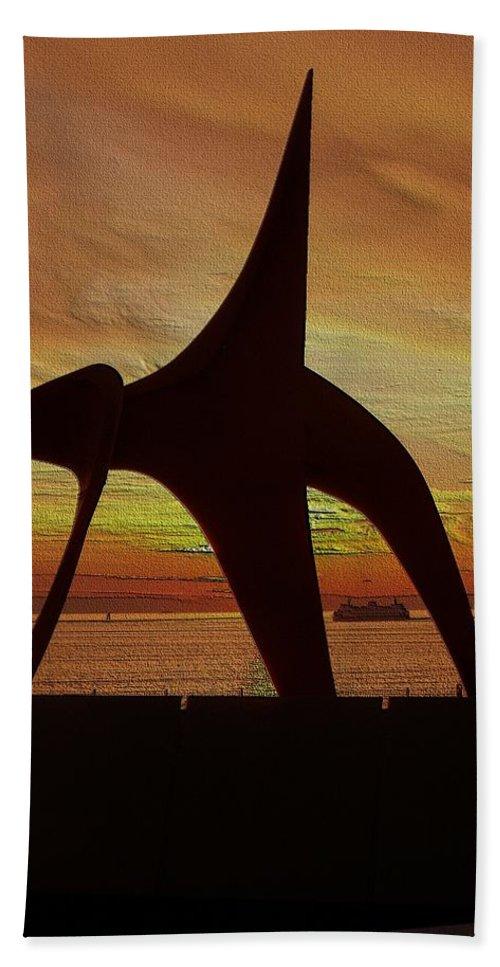 Seattle Bath Sheet featuring the digital art Eagle Sunset Over Elliott Bay by Tim Allen