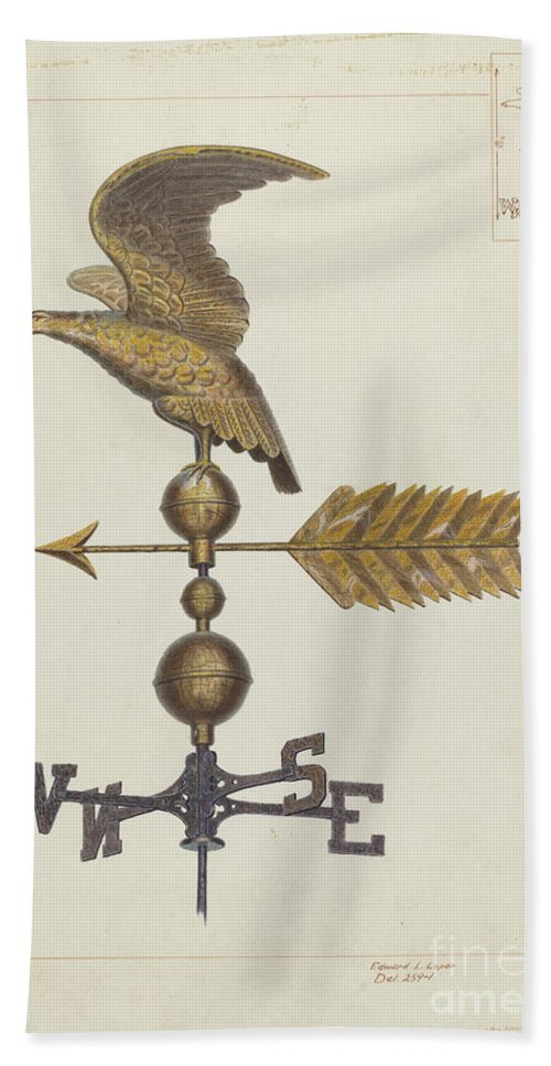 Hand Towel featuring the drawing Eagle Weather Vane by Edward L. Loper