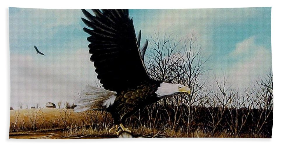 Eagle Hand Towel featuring the painting Eagle With Decoy by Anthony J Padgett