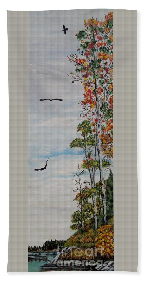 Bald Eagle Hand Towel featuring the painting Eagles Point by Marilyn McNish