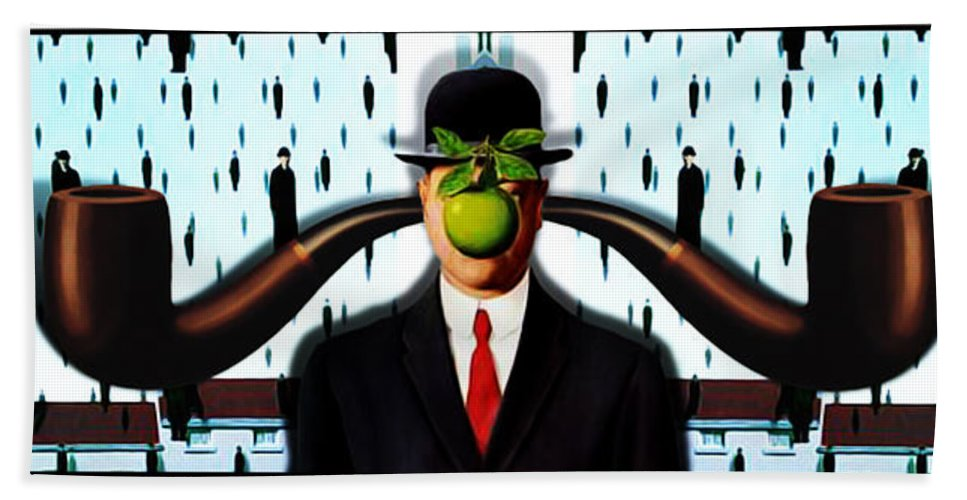 Magritte Bath Sheet featuring the painting Ear Smoking Apple Guy Standing In The Man Rain by Gravityx9 Designs